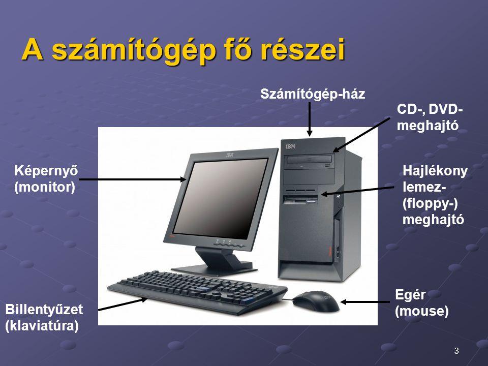 3 A számítógép fő részei Képernyő (monitor) CD-, DVD- meghajtó Hajlékony lemez- (floppy-) meghajtó Egér (mouse) Billentyűzet (klaviatúra) Számítógép-h