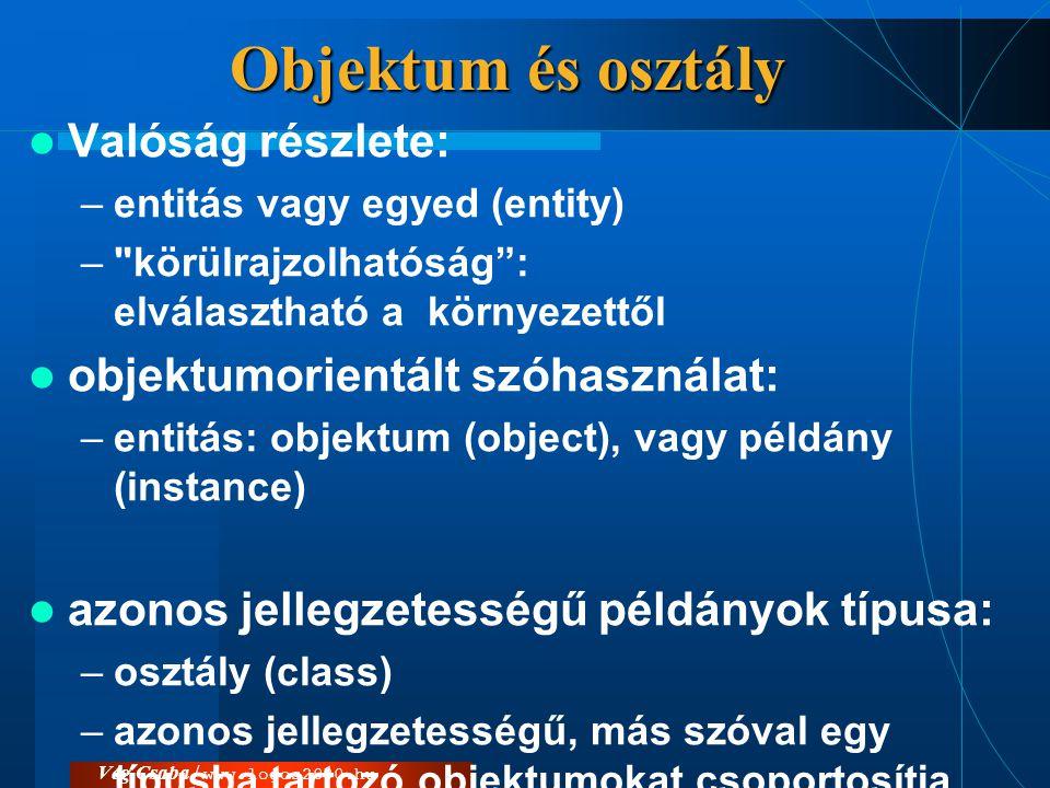 Vég Csaba / www.logos2000.hu Objektum és osztály  Valóság részlete: –entitás vagy egyed (entity) –