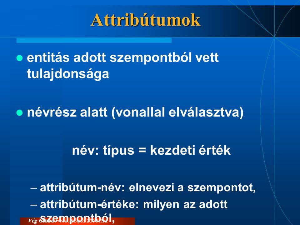 Attribútumok  entitás adott szempontból vett tulajdonsága  névrész alatt (vonallal elválasztva) név: típus = kezdeti érték –attribútum-név: elnevezi