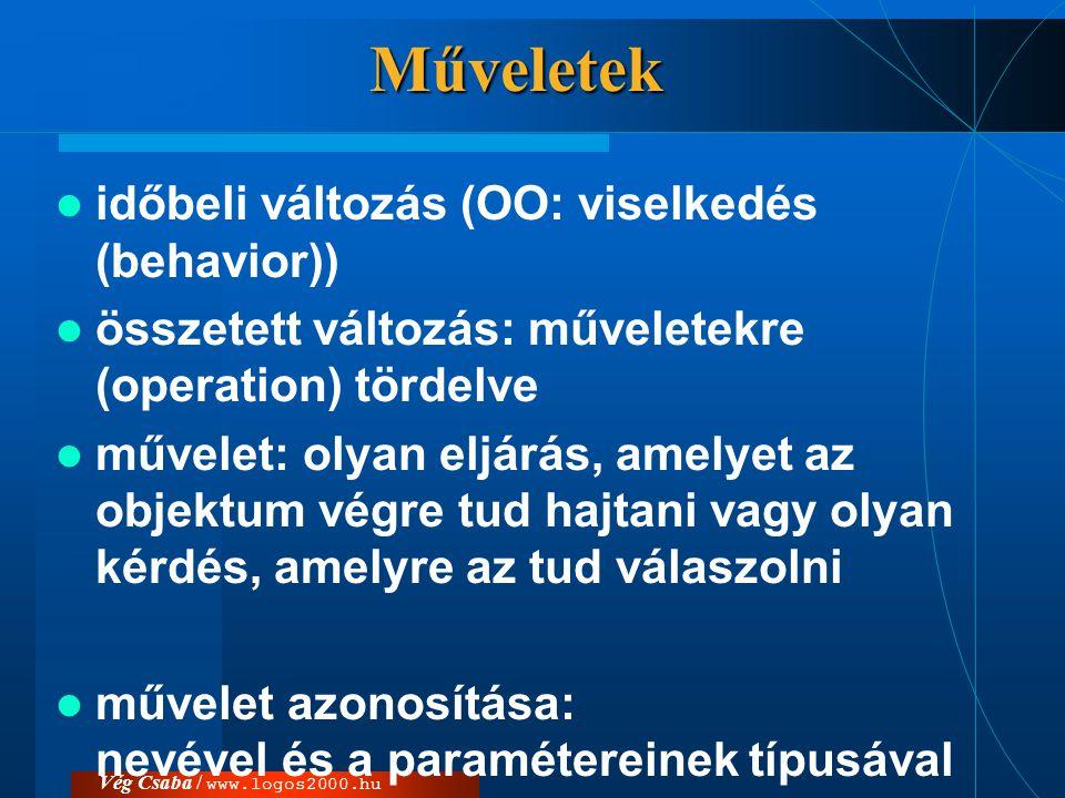 Vég Csaba / www.logos2000.huMűveletek  időbeli változás (OO: viselkedés (behavior))  összetett változás: műveletekre (operation) tördelve  művelet: