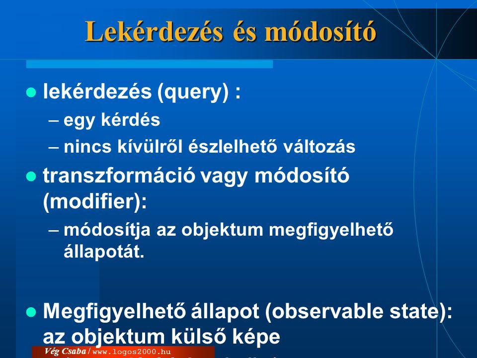 """Vég Csaba / www.logos2000.hu Származtatott attribútum/osztály más elemekből számítható (""""származtatható )  /  Származtatott attribútum: értéke más modellelemekből számítható  származtatott osztály  Megadás: megszorításként az elem mögött, az alakzat mellett, vagy egy ahhoz csatolt külön megjegyzéslapon."""