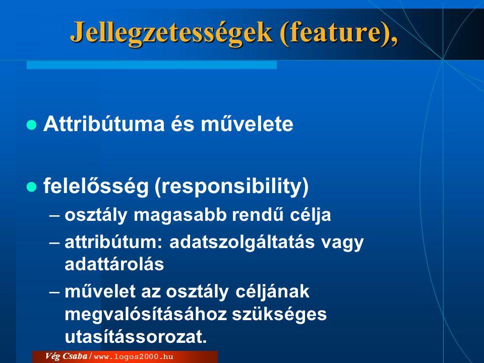 Vég Csaba / www.logos2000.hu Jellegzetességek (feature),  Attribútuma és művelete  felelősség (responsibility) –osztály magasabb rendű célja –attrib