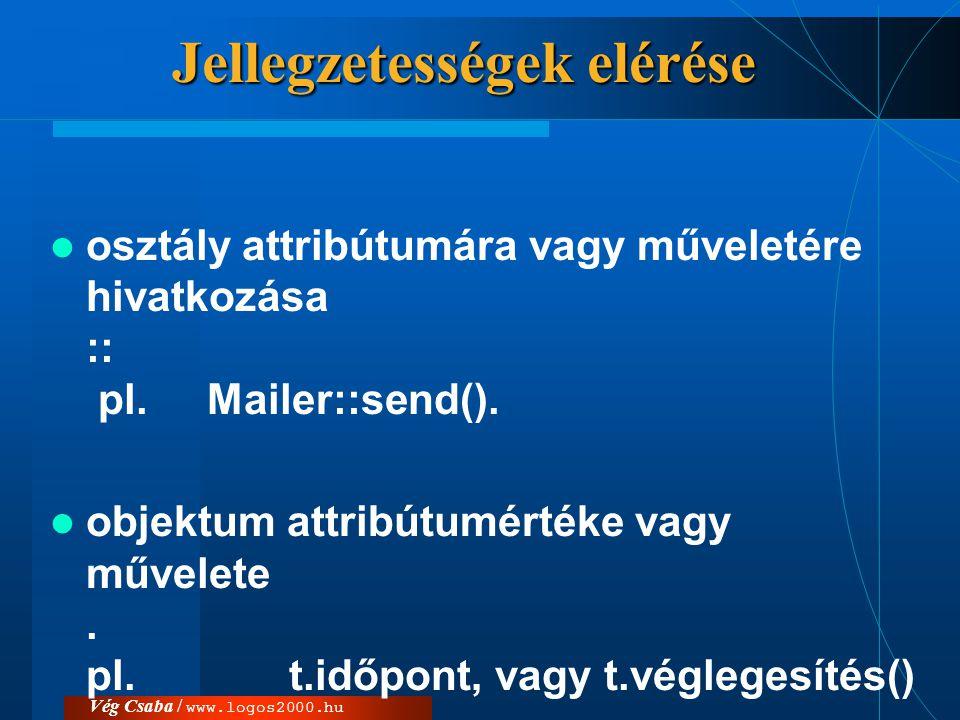 Vég Csaba / www.logos2000.hu Jellegzetességek elérése  osztály attribútumára vagy műveletére hivatkozása :: pl. Mailer::send().  objektum attribútum