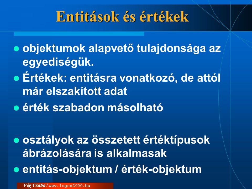 Vég Csaba / www.logos2000.hu Entitások és értékek  objektumok alapvető tulajdonsága az egyediségük.  Értékek: entitásra vonatkozó, de attól már elsz