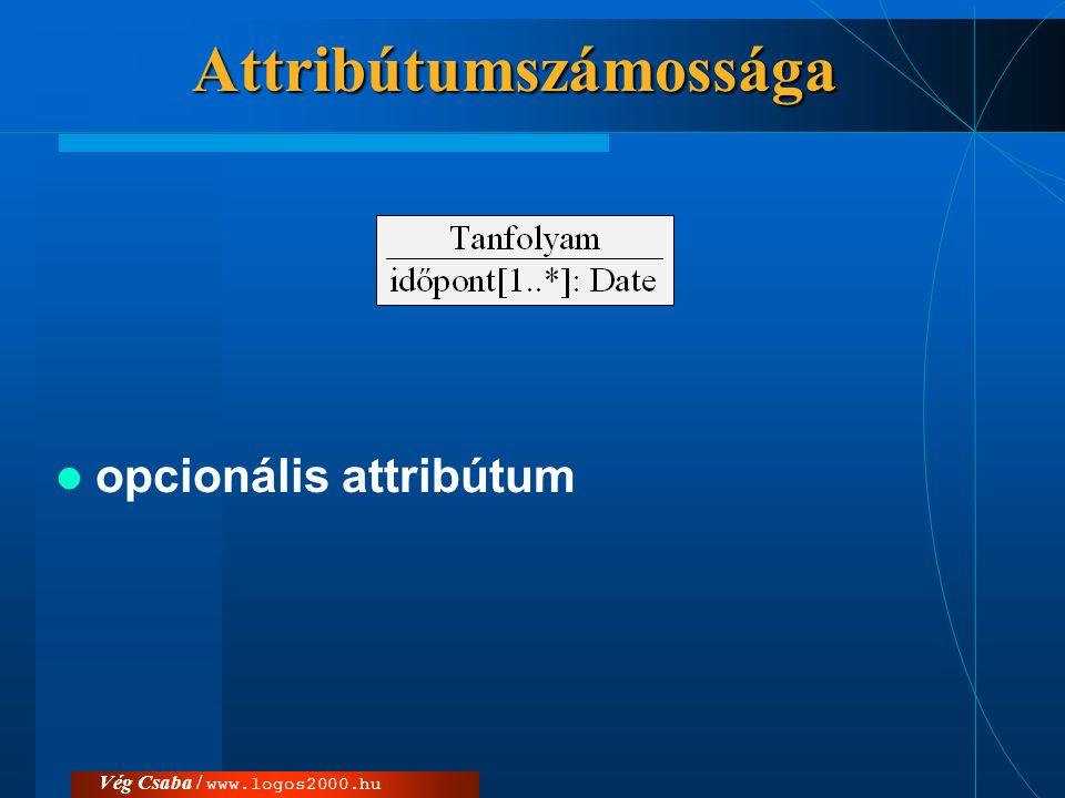 Vég Csaba / www.logos2000.hu osztály számossága  tetszőleges (*)  1: pl.csomagokat reprezentáló osztályok esetén.