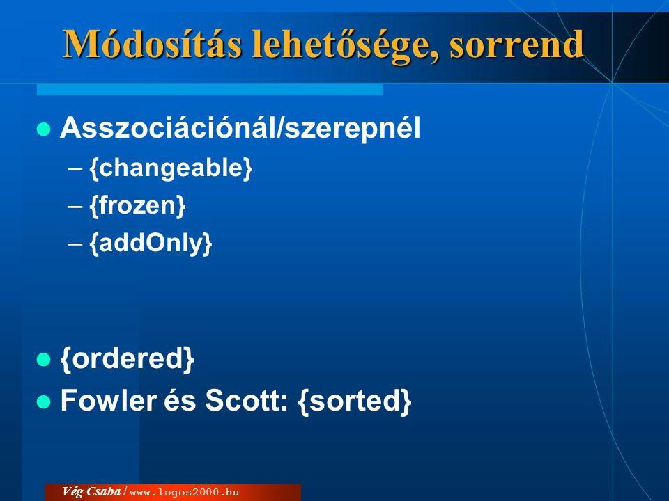 Vég Csaba / www.logos2000.hu Módosítás lehetősége, sorrend  Asszociációnál/szerepnél –{changeable} –{frozen} –{addOnly}  {ordered}  Fowler és Scott