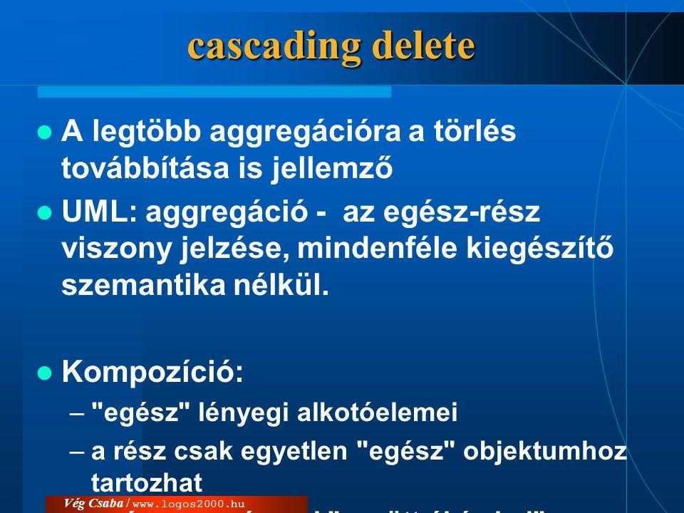 Vég Csaba / www.logos2000.hu cascading delete  A legtöbb aggregációra a törlés továbbítása is jellemző  UML: aggregáció - az egész-rész viszony jelz
