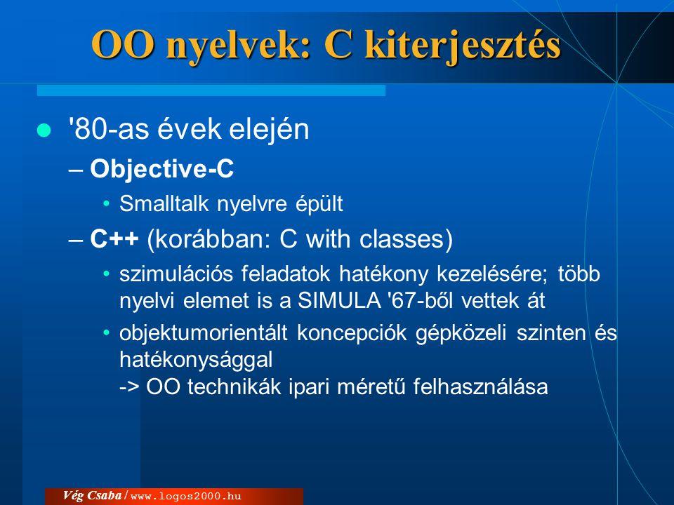 Vég Csaba / www.logos2000.hu OO nyelvek: C kiterjesztés  '80-as évek elején –Objective-C •Smalltalk nyelvre épült –C++ (korábban: C with classes) •sz