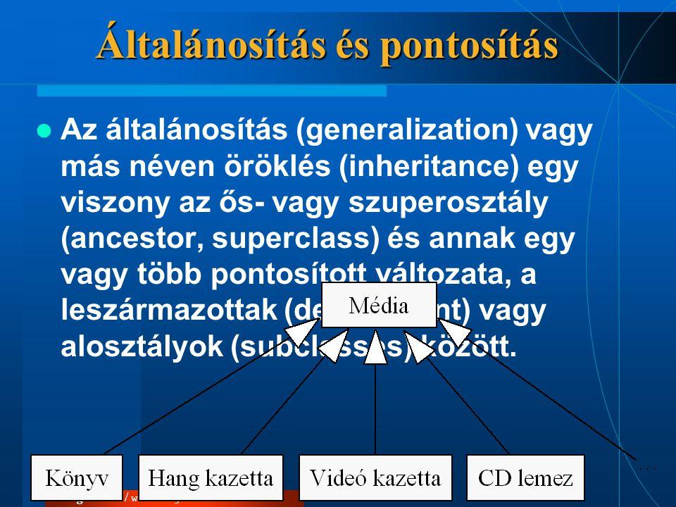 Vég Csaba / www.logos2000.hu Általánosítás és pontosítás  Az általánosítás (generalization) vagy más néven öröklés (inheritance) egy viszony az ős- v