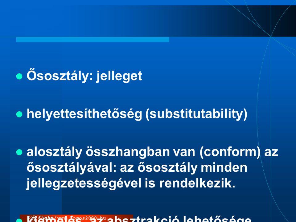 Vég Csaba / www.logos2000.hu  Ősosztály: jelleget  helyettesíthetőség (substitutability)  alosztály összhangban van (conform) az ősosztályával: az