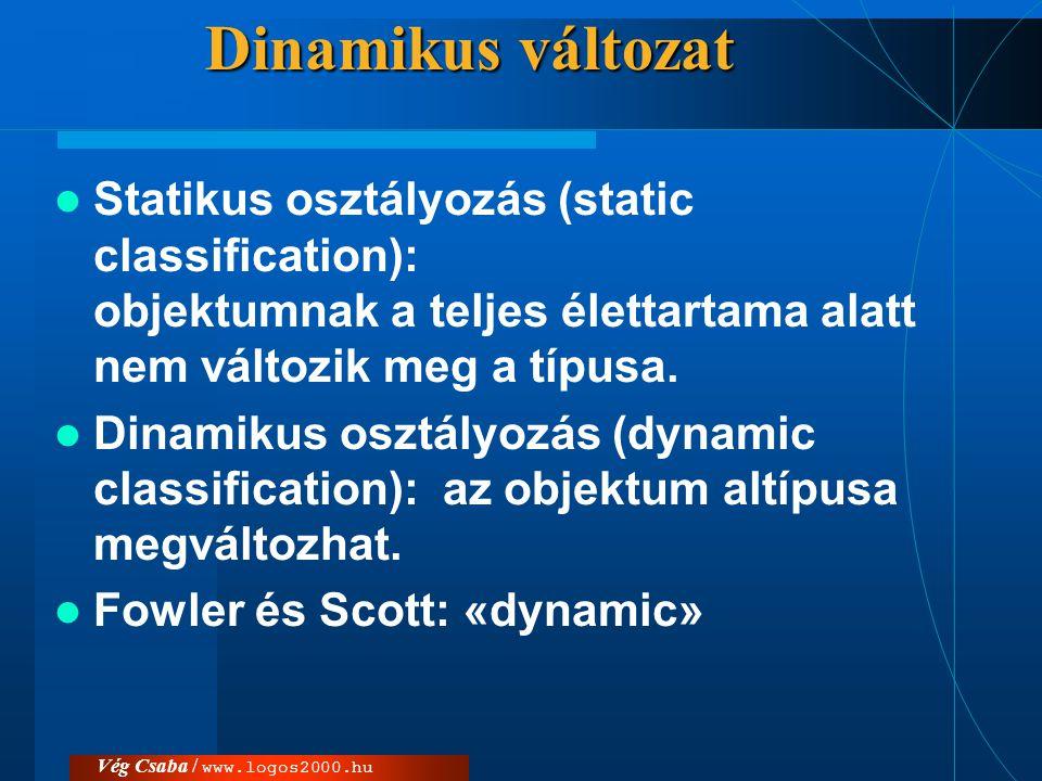Vég Csaba / www.logos2000.hu Dinamikus változat  Statikus osztályozás (static classification): objektumnak a teljes élettartama alatt nem változik me
