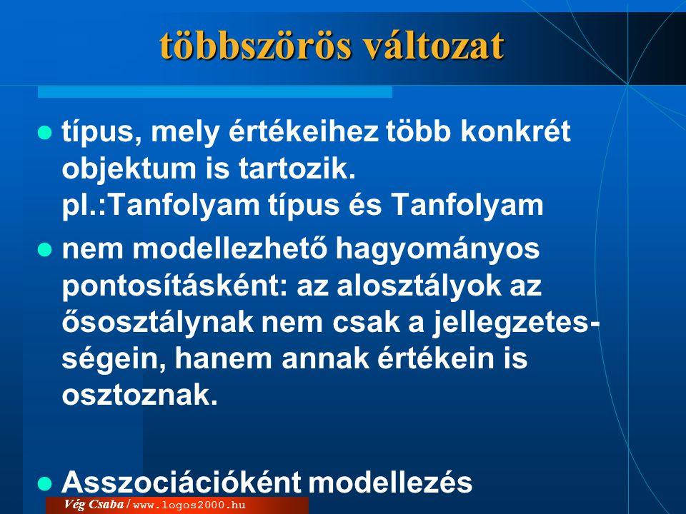többszörös változat  típus, mely értékeihez több konkrét objektum is tartozik. pl.:Tanfolyam típus és Tanfolyam  nem modellezhető hagyományos pontos