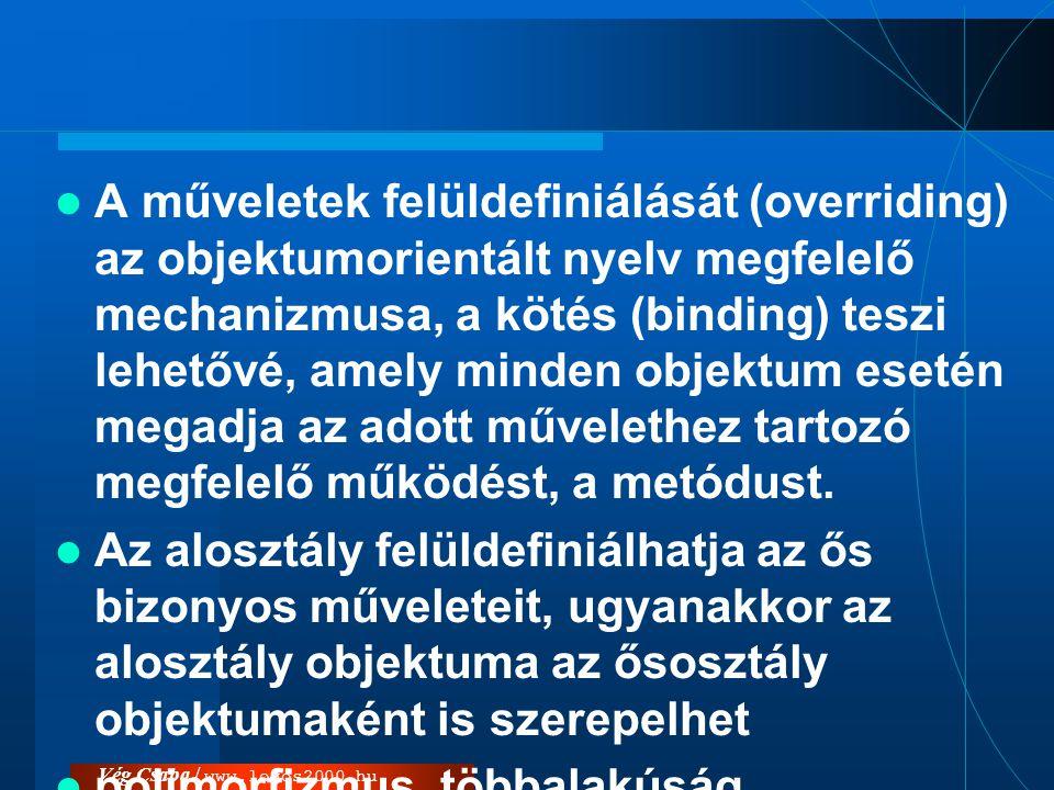 Vég Csaba / www.logos2000.hu  A műveletek felüldefiniálását (overriding) az objektumorientált nyelv megfelelő mechanizmusa, a kötés (binding) teszi l