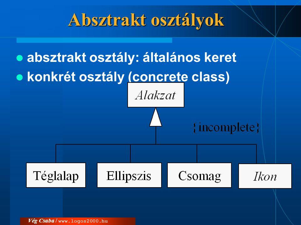 Vég Csaba / www.logos2000.hu Absztrakt osztályok  absztrakt osztály: általános keret  konkrét osztály (concrete class)  {abstract}