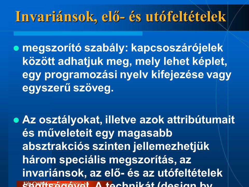 Vég Csaba / www.logos2000.hu Invariánsok, elő- és utófeltételek  megszorító szabály: kapcsoszárójelek között adhatjuk meg, mely lehet képlet, egy pro
