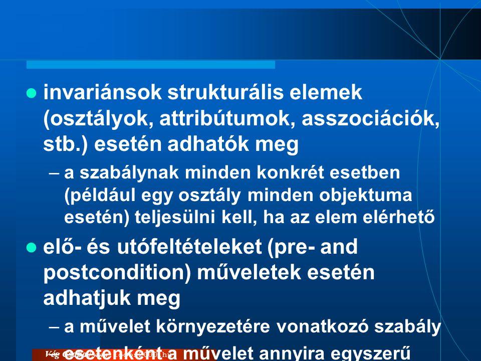 Vég Csaba / www.logos2000.hu  invariánsok strukturális elemek (osztályok, attribútumok, asszociációk, stb.) esetén adhatók meg –a szabálynak minden k