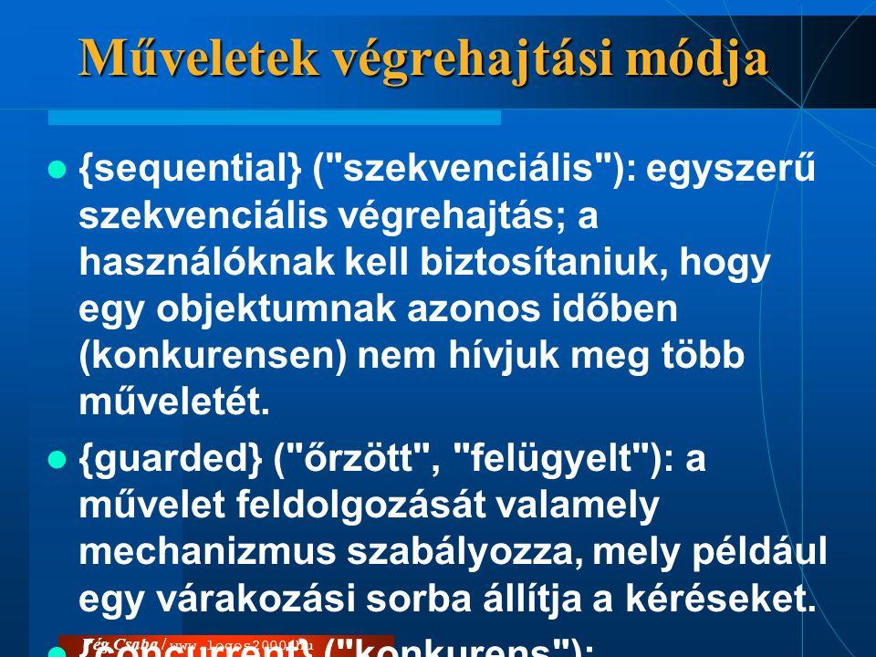Vég Csaba / www.logos2000.hu  «signal» művelet: az osztály elfogadja az adott szignált (átvétele {guarded} mechanizmussal is történhet)  Műveletek: –atomi, azaz félbeszakíthatatlan műveletek az akciók (action) –tevékenységek (activity) végrehajtása hosszabb időt, egy meghatározott időtartamot vesz igénybe.