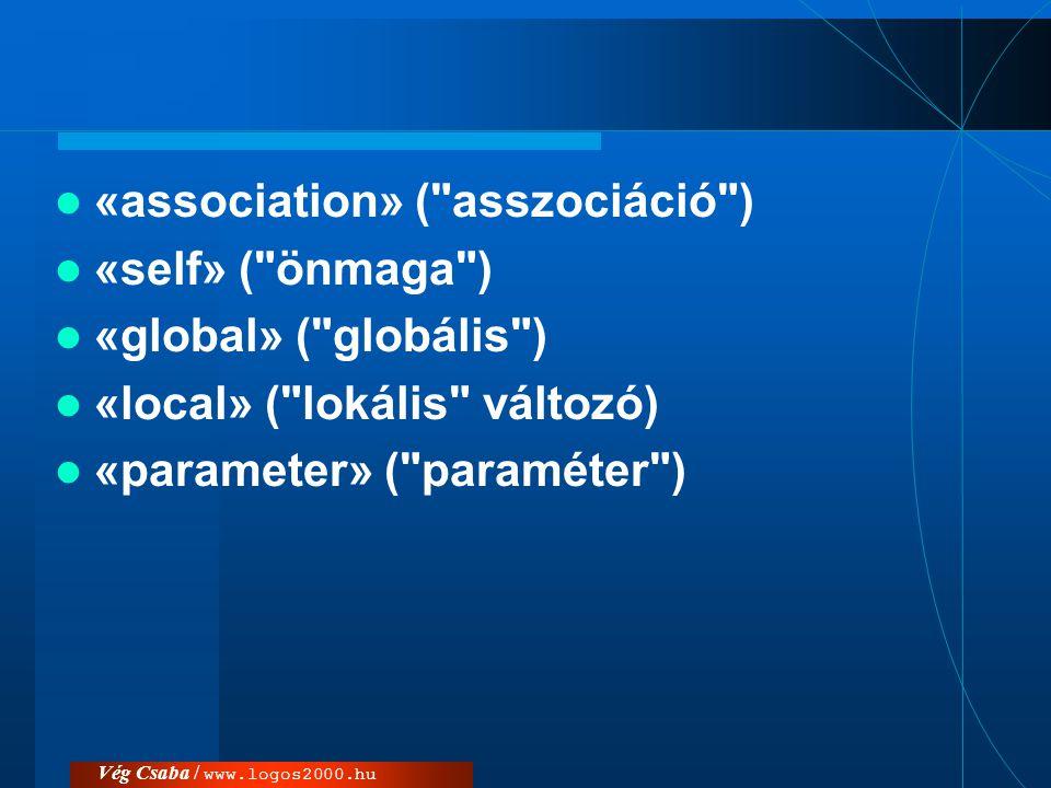 Vég Csaba / www.logos2000.hu  élettartam szabályozása: –{new} ( új ): az objektum a művelet során jön létre.