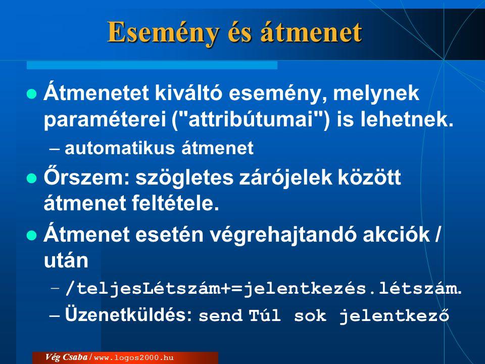 Vég Csaba / www.logos2000.hu Pszeudo állapot  Készítésekor az objektum automatikusan a kezdő-állapotába (initial state, start state) lép; ebbe nem vezethet él.