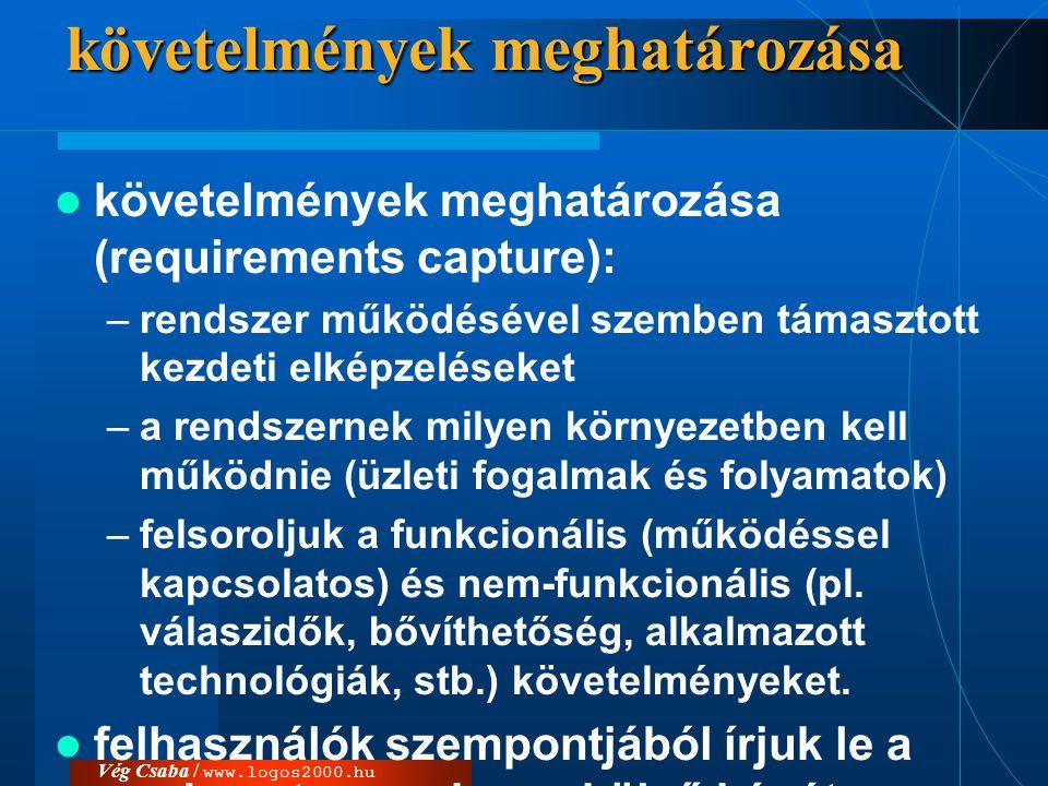 Vég Csaba / www.logos2000.huelemzés  elemzés (analysis): –a követelményeket a fejlesztők szempontjának megfelelően rendezzük át –a rendszer egy belső képét határozzák meg –rendszerezzük és részletezzük az összegyűjtött használati eseteket –azok alapján meghatározzuk a rendszer alapstruktúráját.