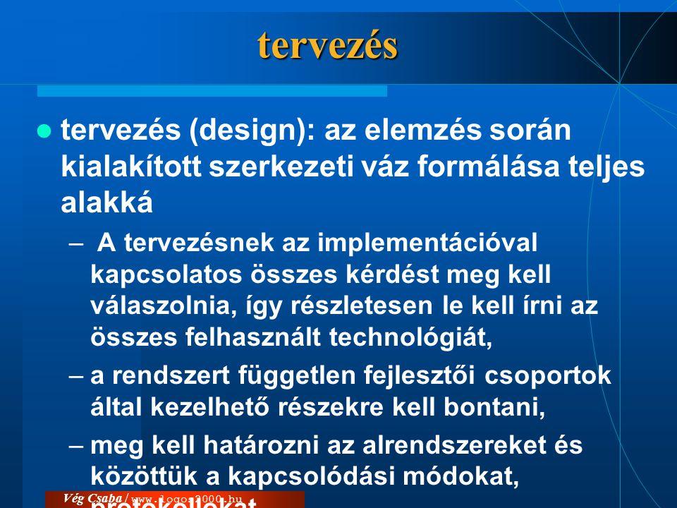 Vég Csaba / www.logos2000.hutervezés  tervezés (design): az elemzés során kialakított szerkezeti váz formálása teljes alakká – A tervezésnek az imple