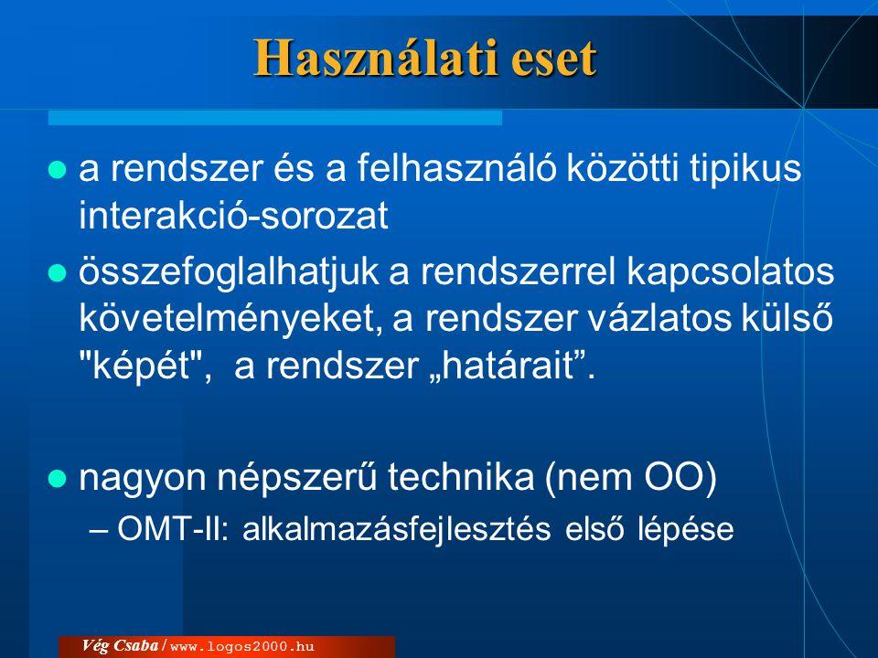 Vég Csaba / www.logos2000.hu Egységesítés és szabványosítás  '90-es évek: OO technikák nagyon népszerűek, –önálló jelölések és módszerek (10-50) –nehéz volt választani –azonos koncepciókat használtak  Jelentősebb módszer második generációja (pl.
