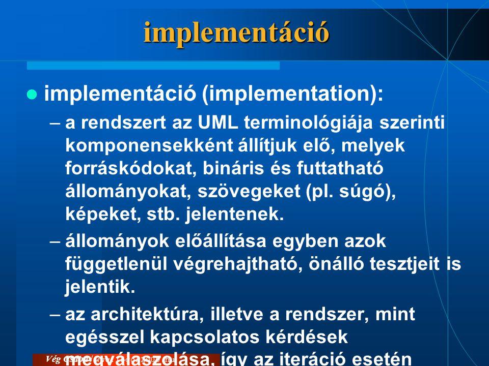 Vég Csaba / www.logos2000.huimplementáció  implementáció (implementation): –a rendszert az UML terminológiája szerinti komponensekként állítjuk elő,