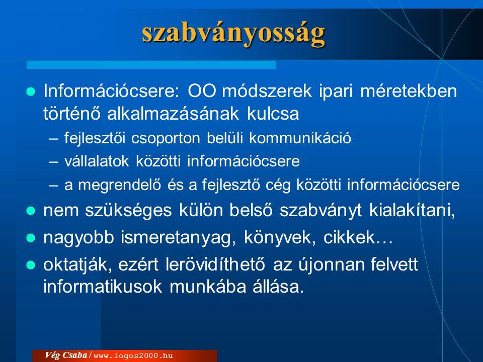 Vég Csaba / www.logos2000.hu Nyelv és módszer  modellező nyelv: modellek ábrázolása a nyelv ismerete egy kész modell értelmezését teszi lehetővé, de nem ad ajánlást arra vonatkozóan, hogy azt milyen lépésekkel állítsuk elő.