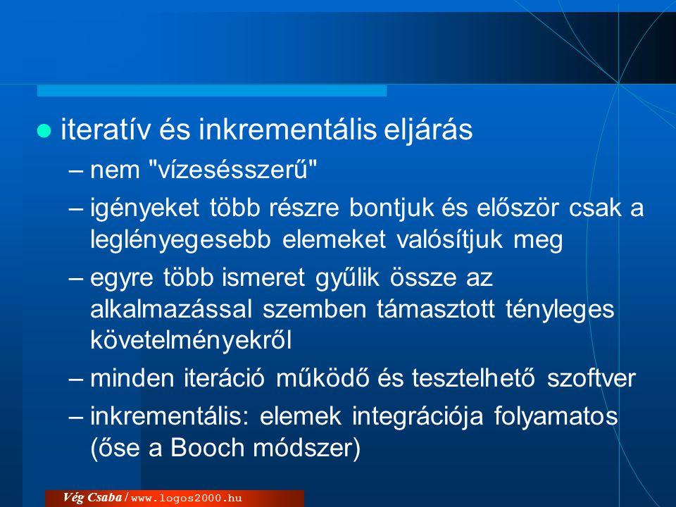 Vég Csaba / www.logos2000.hu  iteratív és inkrementális eljárás –nem