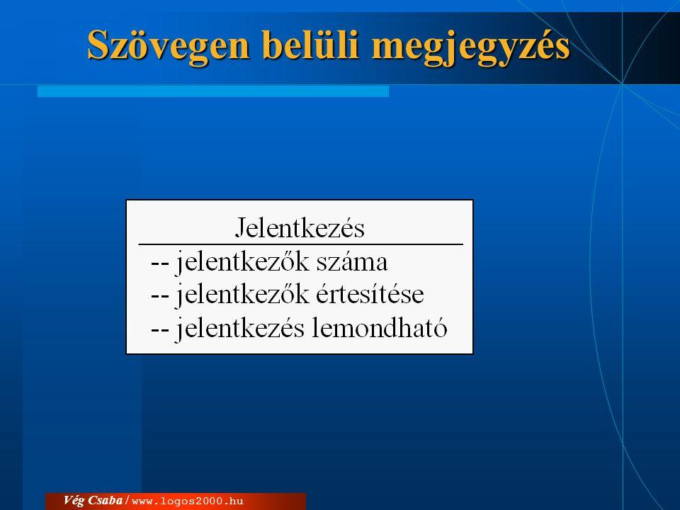 Vég Csaba / www.logos2000.huElnevezések  Rövidített elnevezések  Fogalomszótár v.