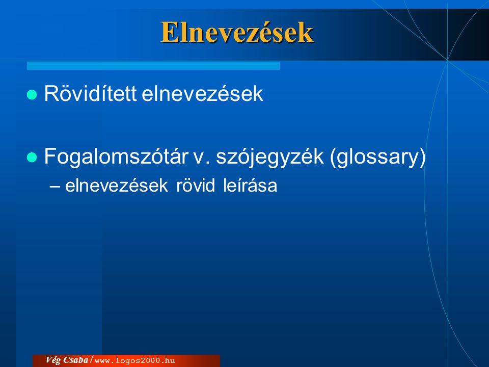 Vég Csaba / www.logos2000.huElnevezések  Rövidített elnevezések  Fogalomszótár v. szójegyzék (glossary) –elnevezések rövid leírása