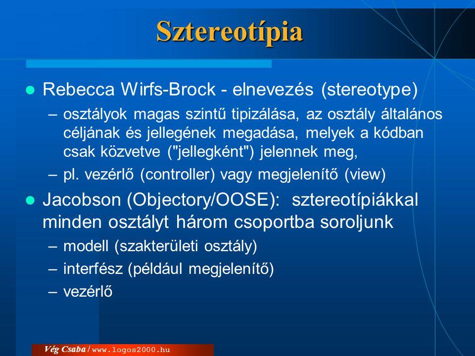 Vég Csaba / www.logos2000.huSztereotípia  Rebecca Wirfs-Brock - elnevezés (stereotype) –osztályok magas szintű tipizálása, az osztály általános céljá