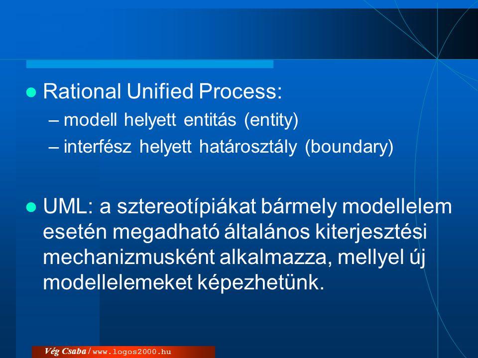 Vég Csaba / www.logos2000.hu  Rational Unified Process: –modell helyett entitás (entity) –interfész helyett határosztály (boundary)  UML: a sztereot