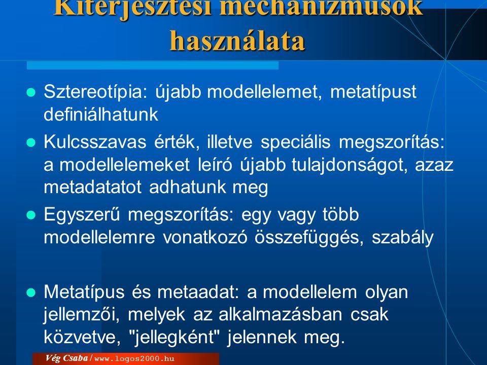 Vég Csaba / www.logos2000.hu Kiterjesztési mechanizmusok használata  Sztereotípia: újabb modellelemet, metatípust definiálhatunk  Kulcsszavas érték,