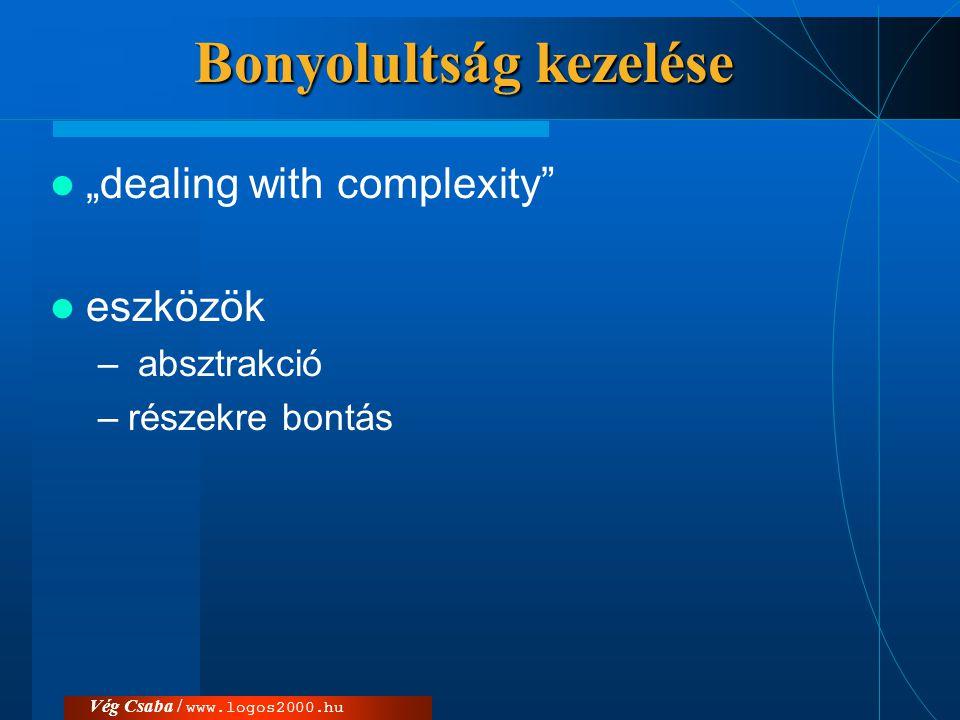"""Vég Csaba / www.logos2000.hu Bonyolultság kezelése  """"dealing with complexity""""  eszközök – absztrakció –részekre bontás"""