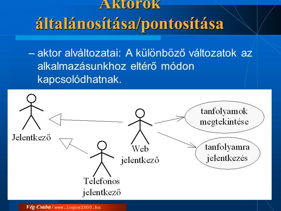 Vég Csaba / www.logos2000.hu  Két aktor között általánosítás viszony állhat fenn, ha az egyik (az általánosabb) összes használati esetéhez a másik is ugyanolyan módon kapcsolódik.