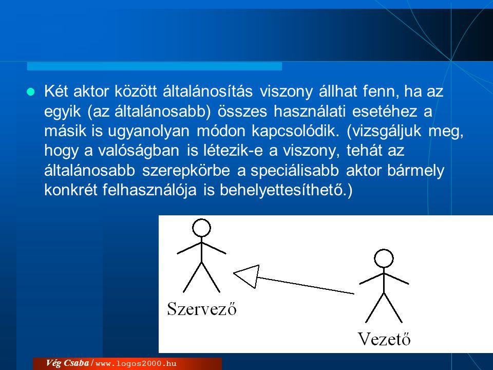 Vég Csaba / www.logos2000.hu  Két aktor között általánosítás viszony állhat fenn, ha az egyik (az általánosabb) összes használati esetéhez a másik is
