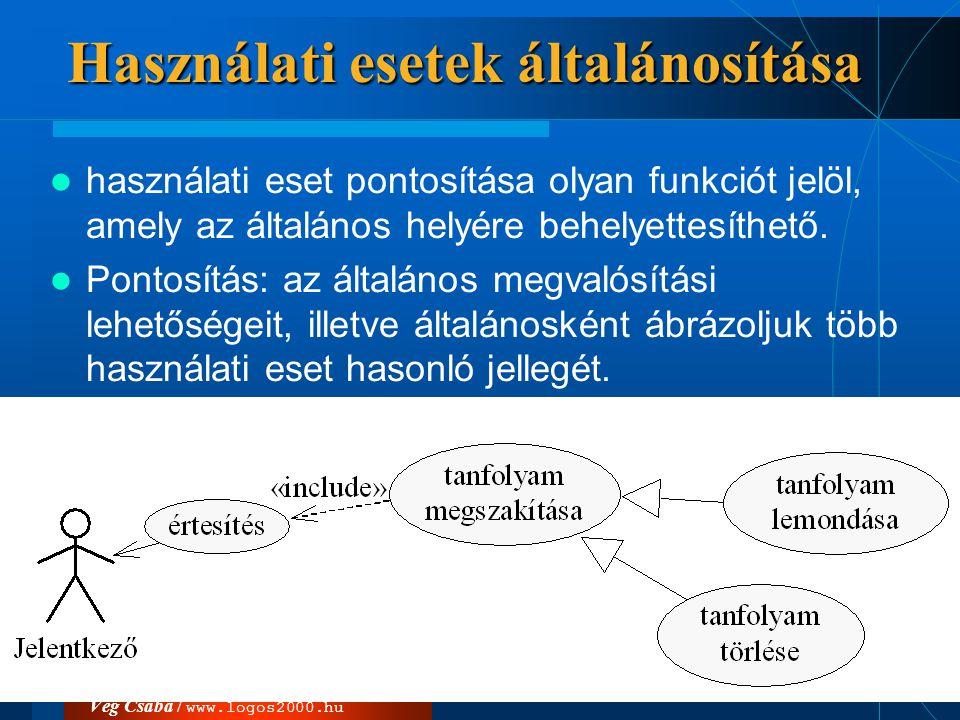 Vég Csaba / www.logos2000.hu Használati esetek általánosítása  használati eset pontosítása olyan funkciót jelöl, amely az általános helyére behelyett