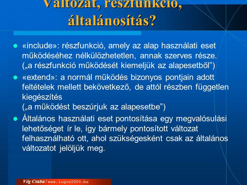 Vég Csaba / www.logos2000.hu Változat, részfunkció, általánosítás?  «include»: részfunkció, amely az alap használati eset működéséhez nélkülözhetetle