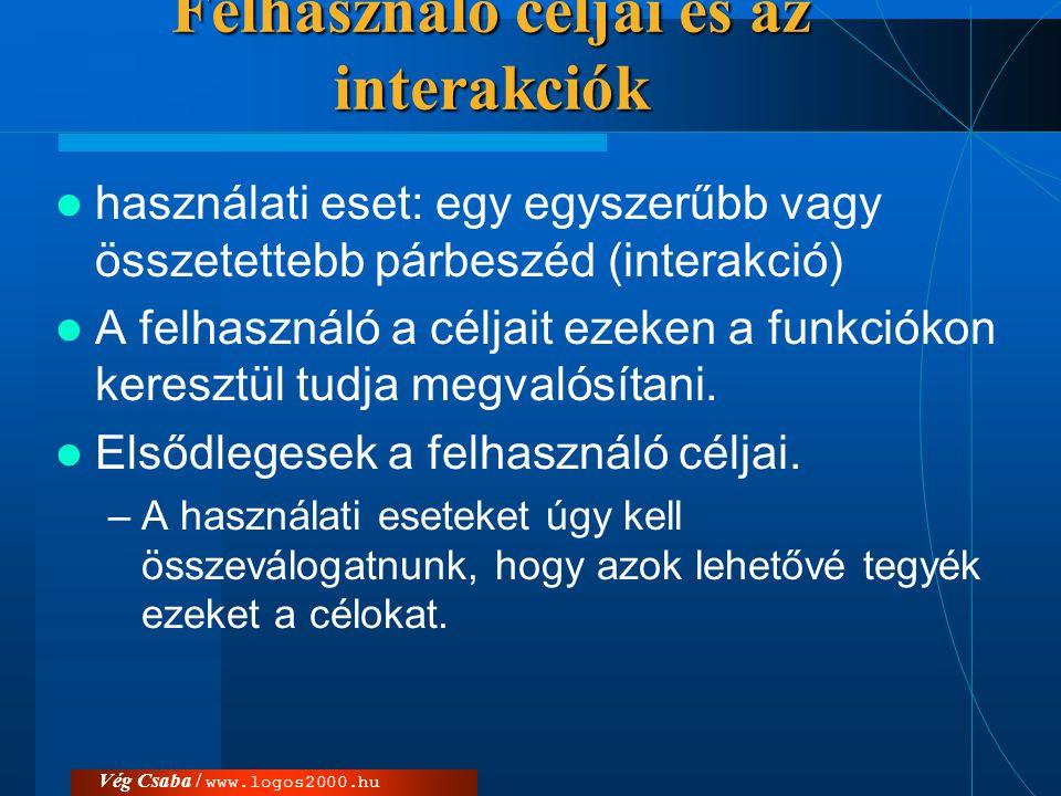 Vég Csaba / www.logos2000.hu Használati eset diagramok  alapvető fontosságúak a követelmények elemzésben.