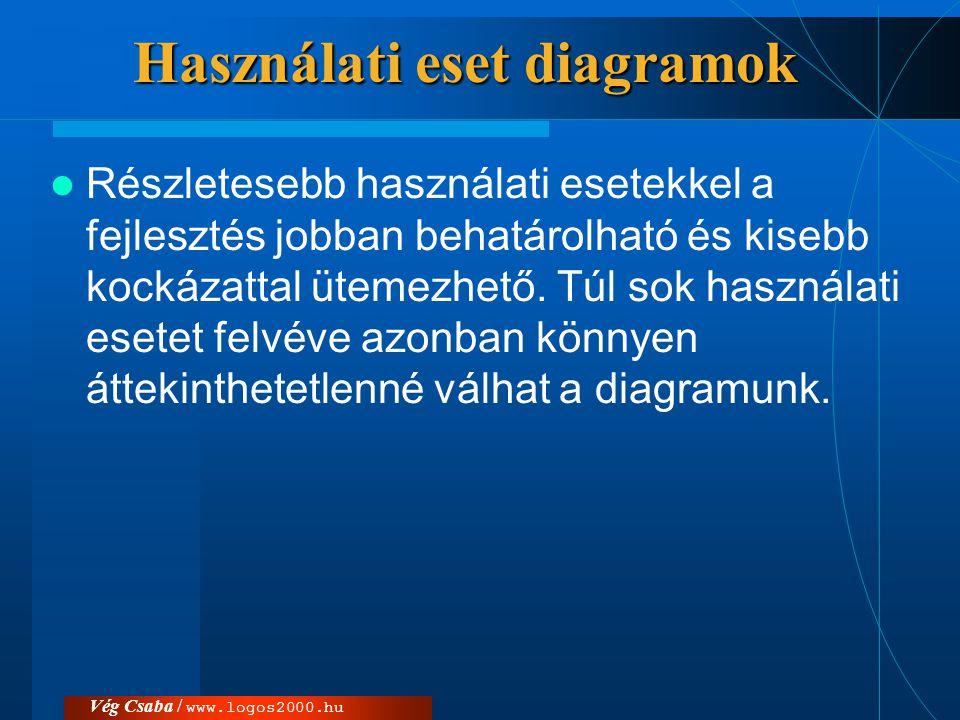 Vég Csaba / www.logos2000.hu Használati eset diagramok  Részletesebb használati esetekkel a fejlesztés jobban behatárolható és kisebb kockázattal üte