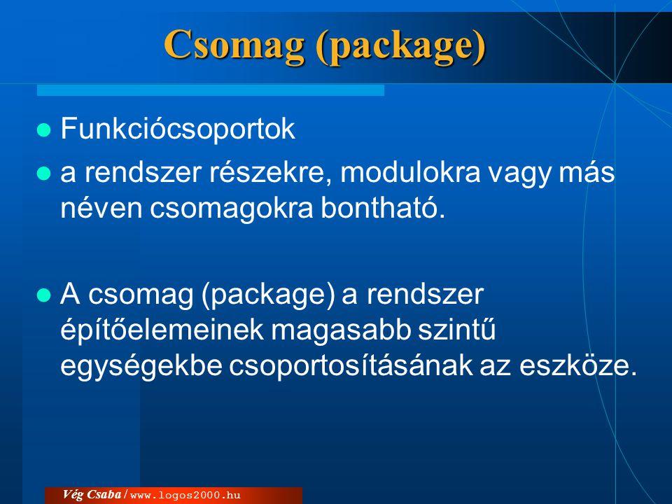 Csomag (package)  Funkciócsoportok  a rendszer részekre, modulokra vagy más néven csomagokra bontható.  A csomag (package) a rendszer építőelemeine