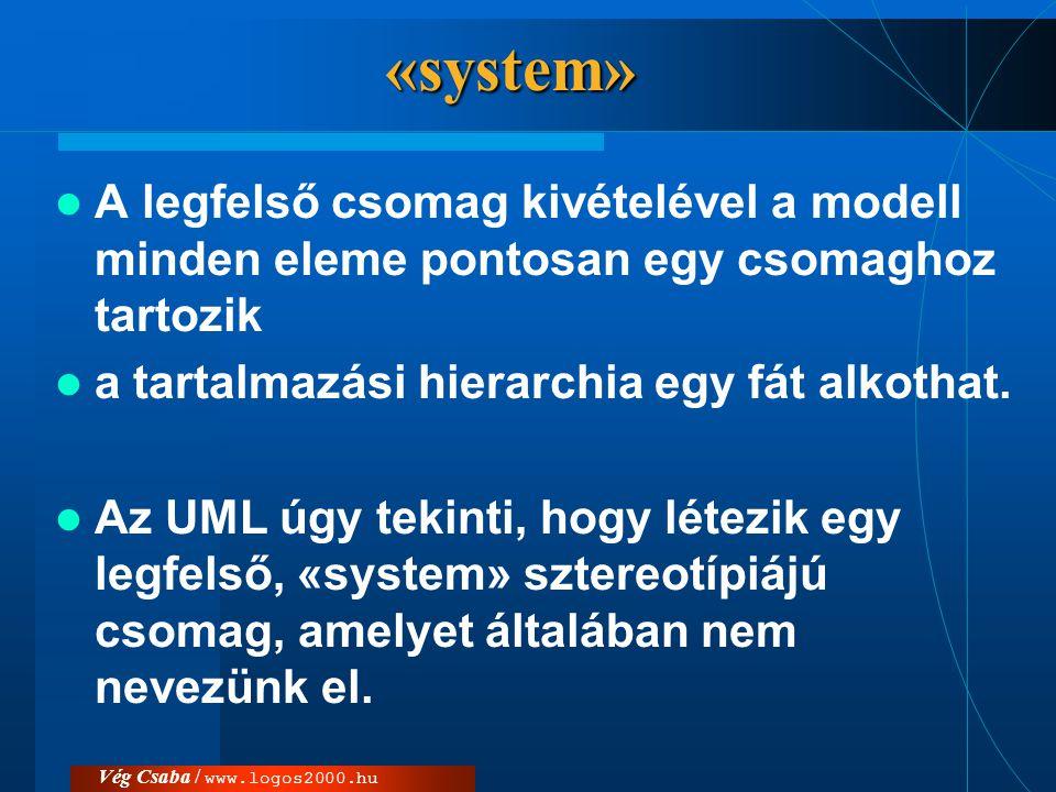 «system»  A legfelső csomag kivételével a modell minden eleme pontosan egy csomaghoz tartozik  a tartalmazási hierarchia egy fát alkothat.  Az UML
