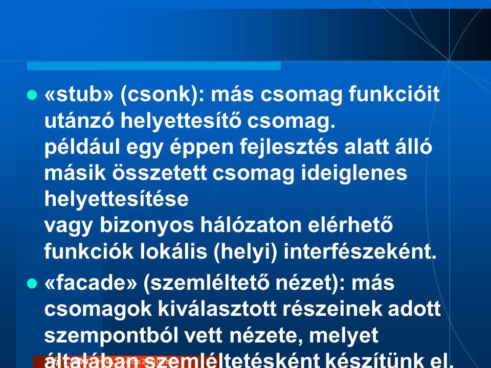Vég Csaba / www.logos2000.hu  «stub» (csonk): más csomag funkcióit utánzó helyettesítő csomag. például egy éppen fejlesztés alatt álló másik összetet