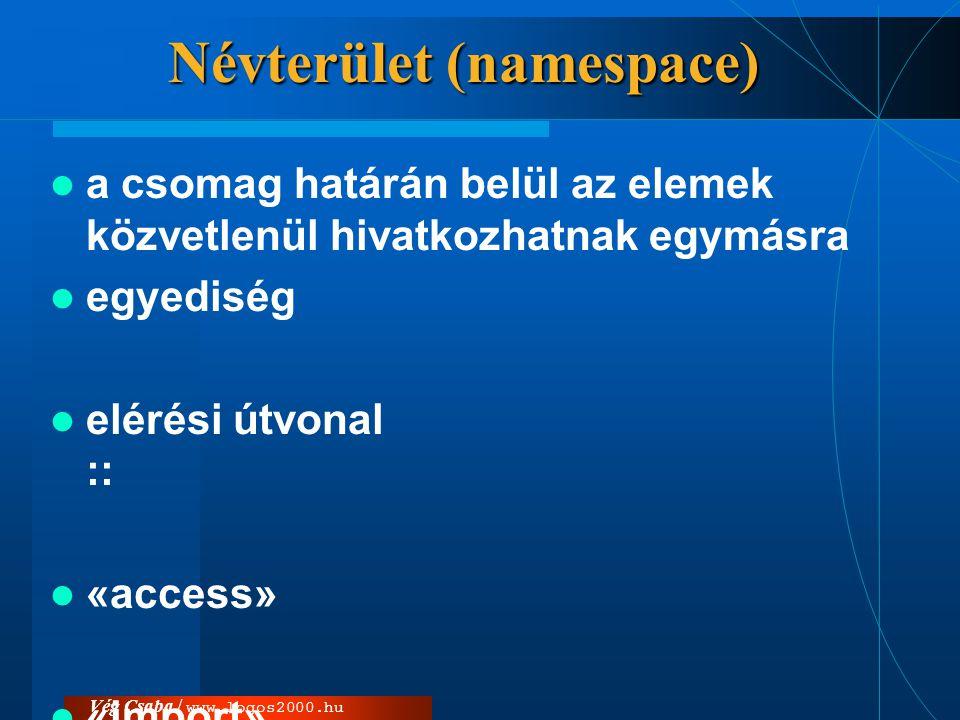 Vég Csaba / www.logos2000.hu Névterület (namespace)  a csomag határán belül az elemek közvetlenül hivatkozhatnak egymásra  egyediség  elérési útvon