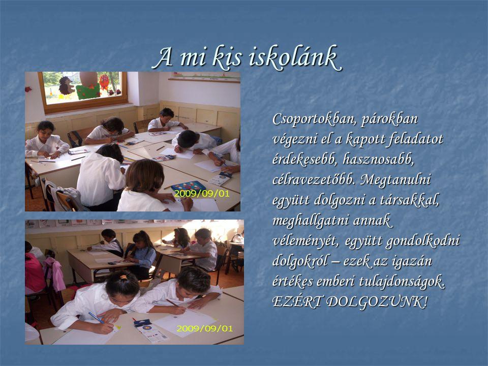 A mi kis iskolánk Csoportokban, párokban végezni el a kapott feladatot érdekesebb, hasznosabb, célravezetőbb. Megtanulni együtt dolgozni a társakkal,