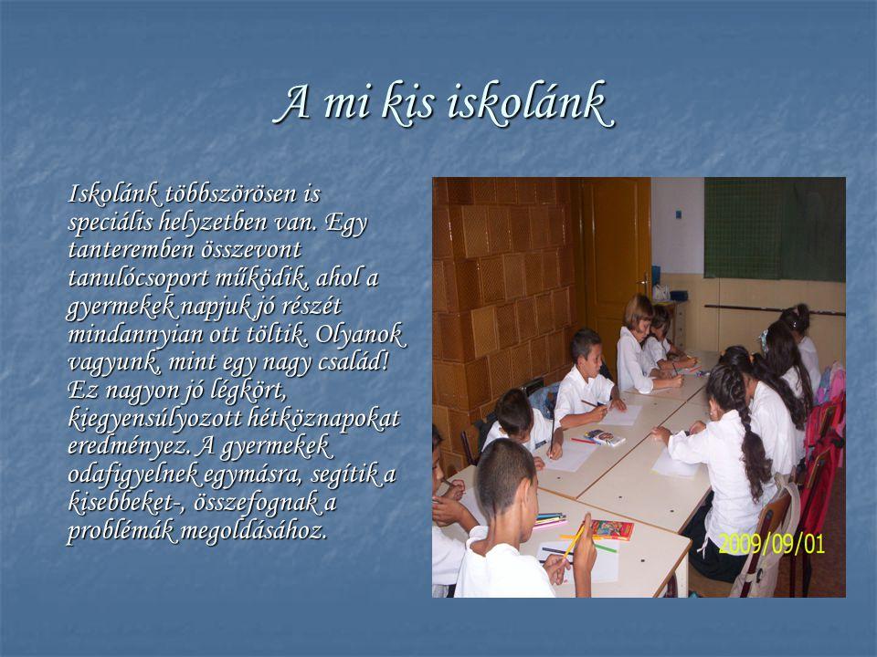 A mi kis iskolánk Iskolánk többszörösen is speciális helyzetben van. Egy tanteremben összevont tanulócsoport működik, ahol a gyermekek napjuk jó részé