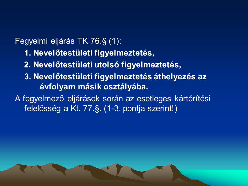 Fegyelmi eljárás TK 76.§ (1): 1.Nevelőtestületi figyelmeztetés, 2.