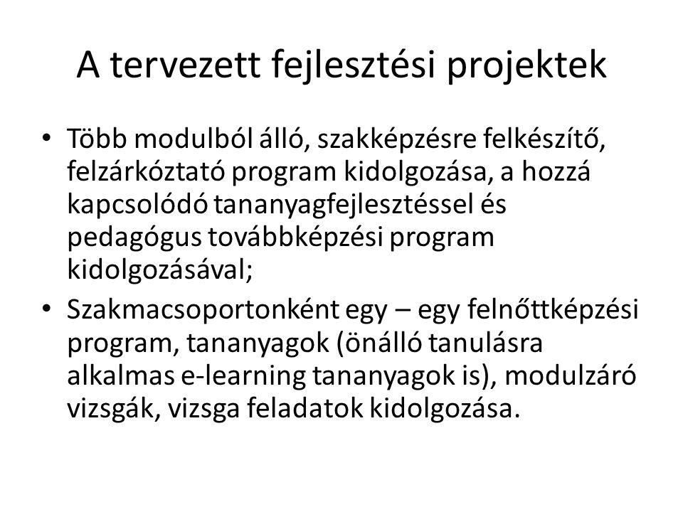 A tervezett fejlesztési projektek • Több modulból álló, szakképzésre felkészítő, felzárkóztató program kidolgozása, a hozzá kapcsolódó tananyagfejlesz