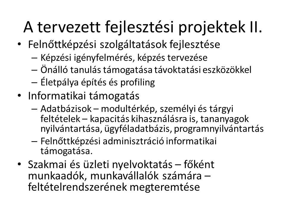 A tervezett fejlesztési projektek II. • Felnőttképzési szolgáltatások fejlesztése – Képzési igényfelmérés, képzés tervezése – Önálló tanulás támogatás